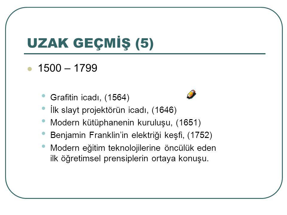 UZAK GEÇMİŞ (5) 1500 – 1799 Grafitin icadı, (1564) İlk slayt projektörün icadı, (1646) Modern kütüphanenin kuruluşu, (1651) Benjamin Franklin'in elekt