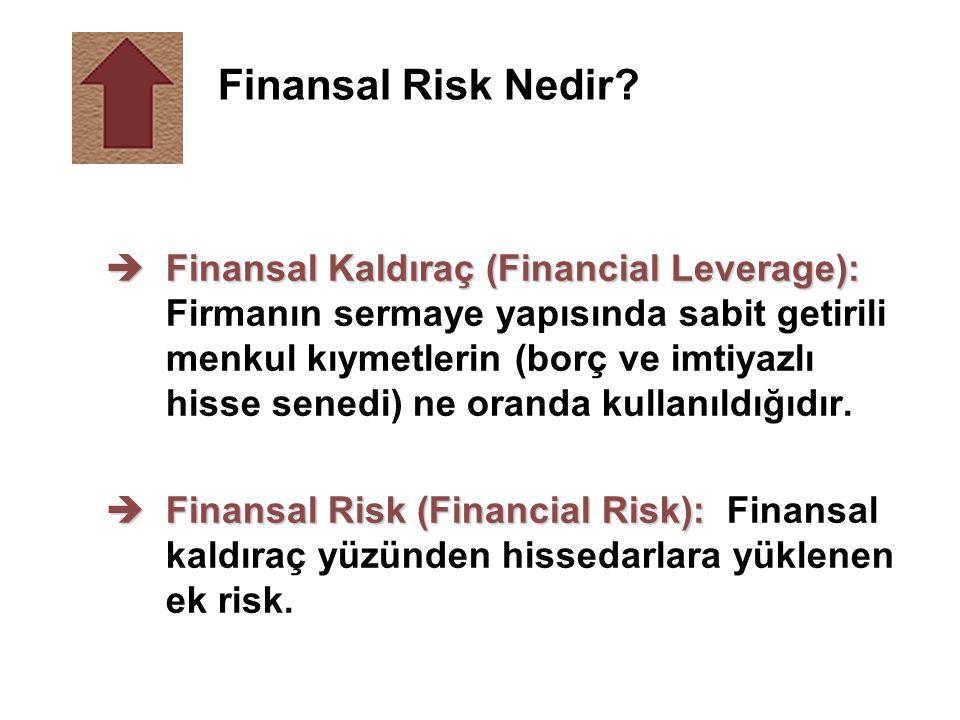 èFinansal Kaldıraç (Financial Leverage): èFinansal Kaldıraç (Financial Leverage): Firmanın sermaye yapısında sabit getirili menkul kıymetlerin (borç v