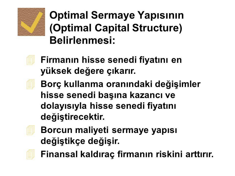 Optimal Sermaye Yapısının (Optimal Capital Structure) Belirlenmesi: 4 Firmanın hisse senedi fiyatını en yüksek değere çıkarır. 4 Borç kullanma oranınd