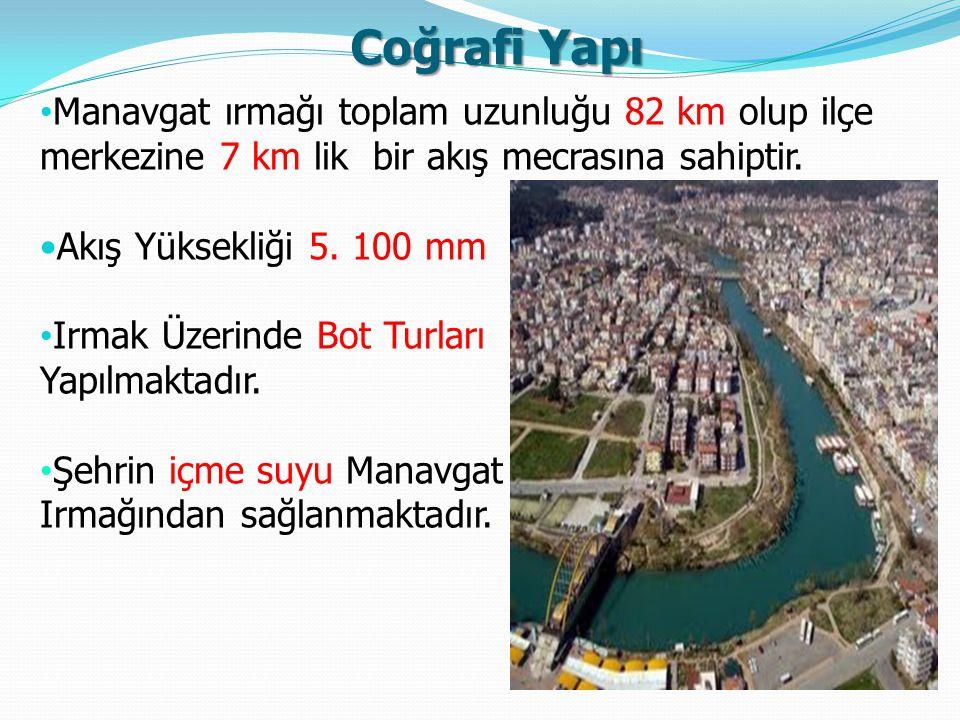 Coğrafi Yapı (DOĞU) Manavgat ırmağı toplam uzunluğu 82 km olup ilçe merkezine 7 km lik bir akış mecrasına sahiptir. Akış Yüksekliği 5. 100 mm Irmak Üz