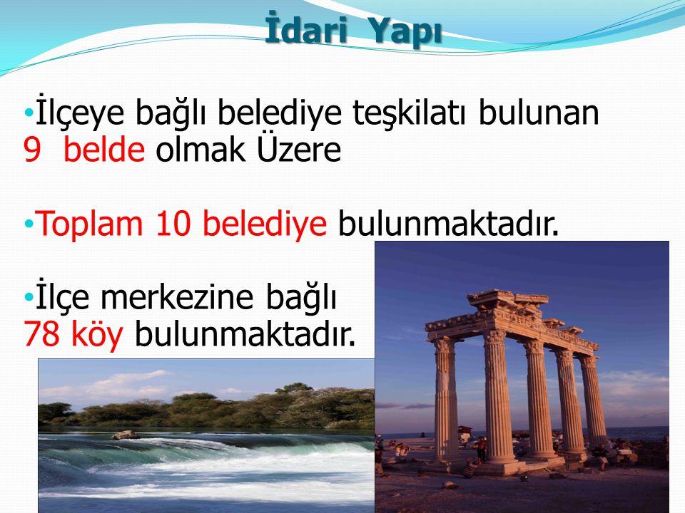 İdari Yapı İlçeye bağlı belediye teşkilatı bulunan 9 belde olmak Üzere Toplam 10 belediye bulunmaktadır. İlçe merkezine bağlı 78 köy bulunmaktadır.