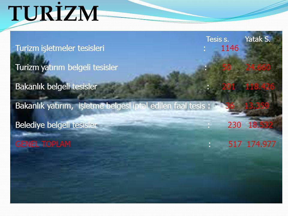 TURİZM Tesis s. Yatak S. Turizm işletmeler tesisleri : 1146 Turizm yatırım belgeli tesisler : 50 24.660 Bakanlık belgeli tesisler : 201 118.426 Bakanl