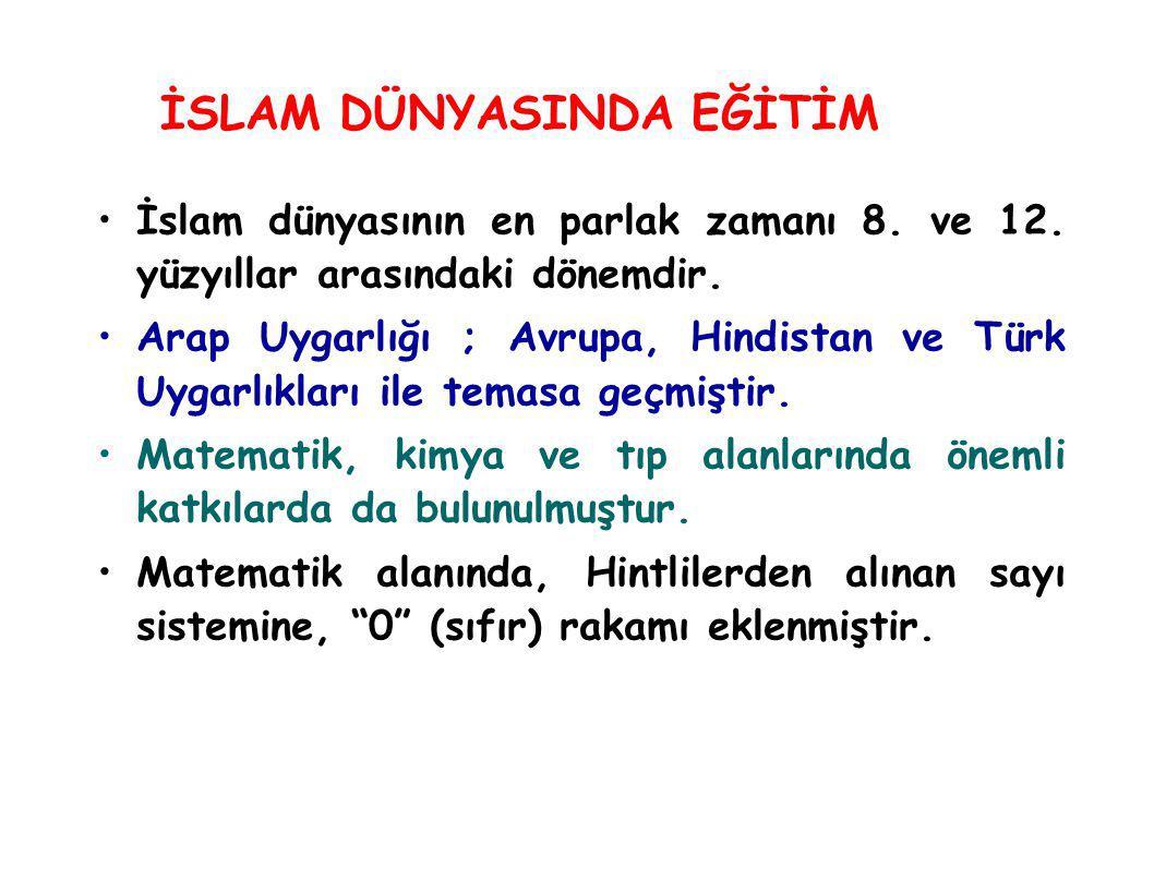 İslam dünyasının en parlak zamanı 8. ve 12. yüzyıllar arasındaki dönemdir. Arap Uygarlığı ; Avrupa, Hindistan ve Türk Uygarlıkları ile temasa geçmişti