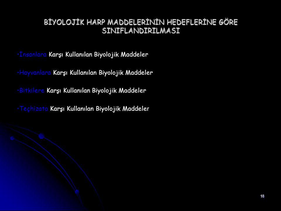 18 BİYOLOJİK HARP MADDELERİNİN HEDEFLERİNE GÖRE SINIFLANDIRILMASI İnsanlara Karşı Kullanılan Biyolojik Maddeler Hayvanlara Karşı Kullanılan Biyolojik