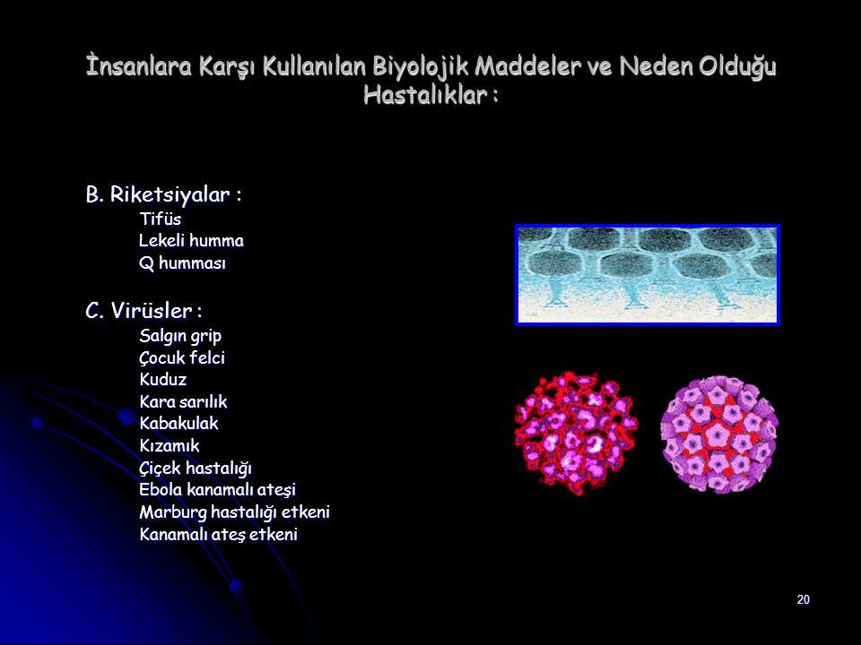 20 İnsanlara Karşı Kullanılan Biyolojik Maddeler ve Neden Olduğu Hastalıklar : B. Riketsiyalar : Tifüs Lekeli humma Q humması C. Virüsler : Salgın gri