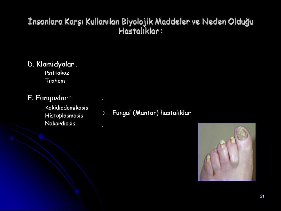 21 İnsanlara Karşı Kullanılan Biyolojik Maddeler ve Neden Olduğu Hastalıklar : D. Klamidyalar : Psittakoz Trahom E. Funguslar : Kokidiodomikosis Histo