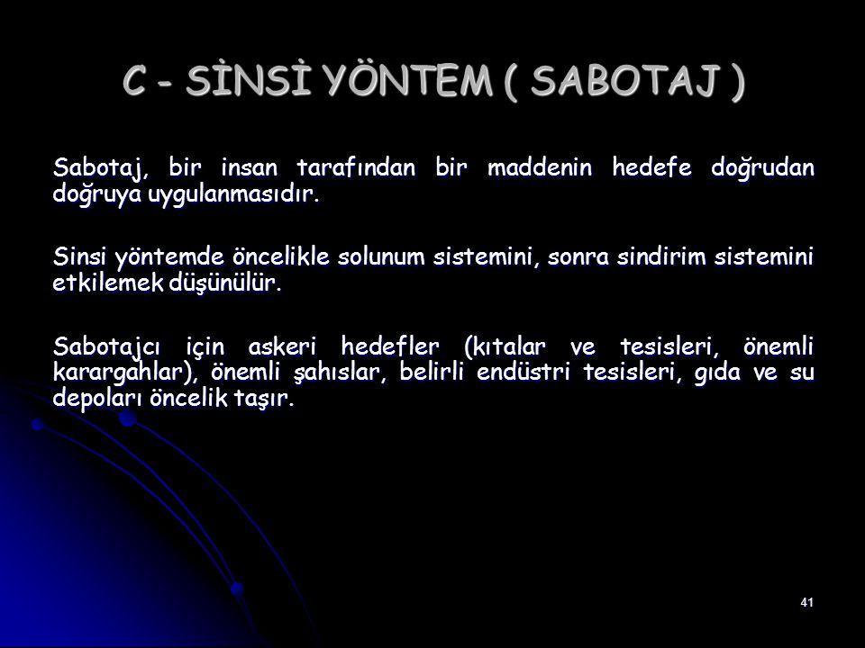 41 C - SİNSİ YÖNTEM ( SABOTAJ ) Sabotaj, bir insan tarafından bir maddenin hedefe doğrudan doğruya uygulanmasıdır. Sinsi yöntemde öncelikle solunum si