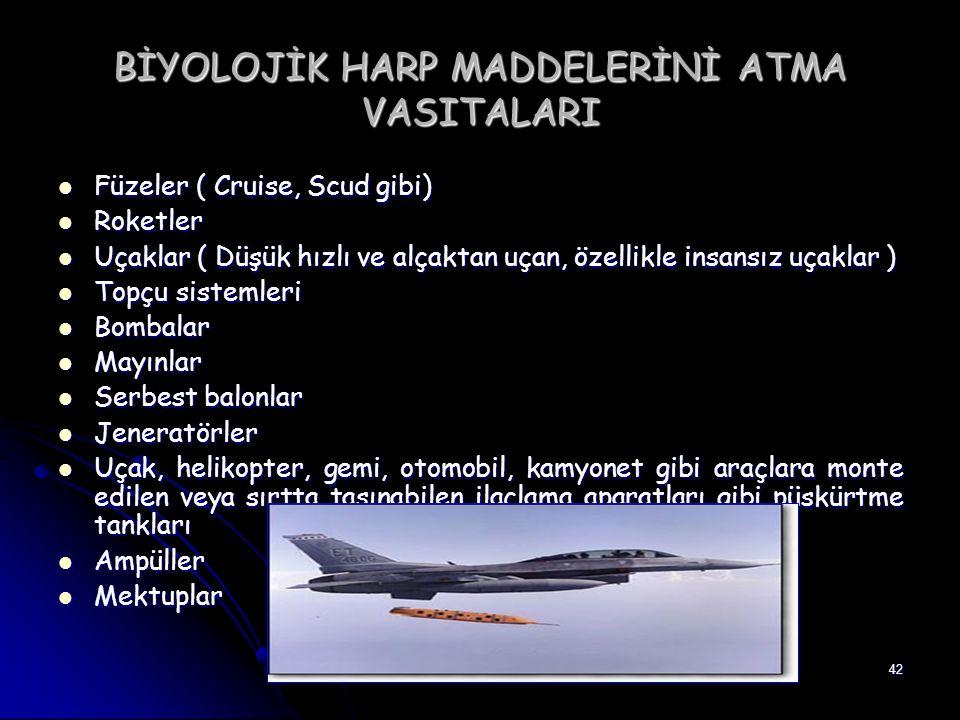 42 BİYOLOJİK HARP MADDELERİNİ ATMA VASITALARI Füzeler ( Cruise, Scud gibi) Füzeler ( Cruise, Scud gibi) Roketler Roketler Uçaklar ( Düşük hızlı ve alç