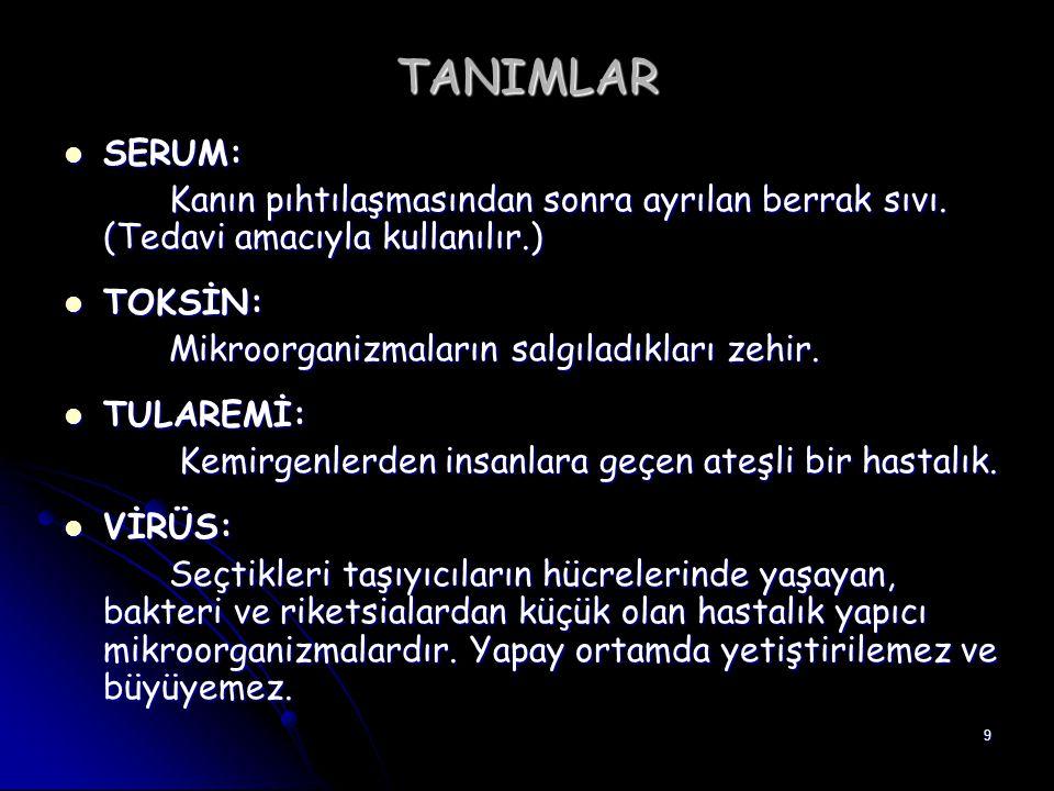 9 TANIMLAR SERUM: SERUM: Kanın pıhtılaşmasından sonra ayrılan berrak sıvı. (Tedavi amacıyla kullanılır.) TOKSİN: TOKSİN: Mikroorganizmaların salgıladı