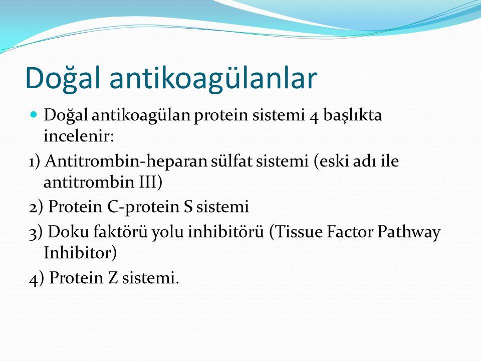 Doğal antikoagülanlar Doğal antikoagülan protein sistemi 4 başlıkta incelenir: 1) Antitrombin-heparan sülfat sistemi (eski adı ile antitrombin III) 2)