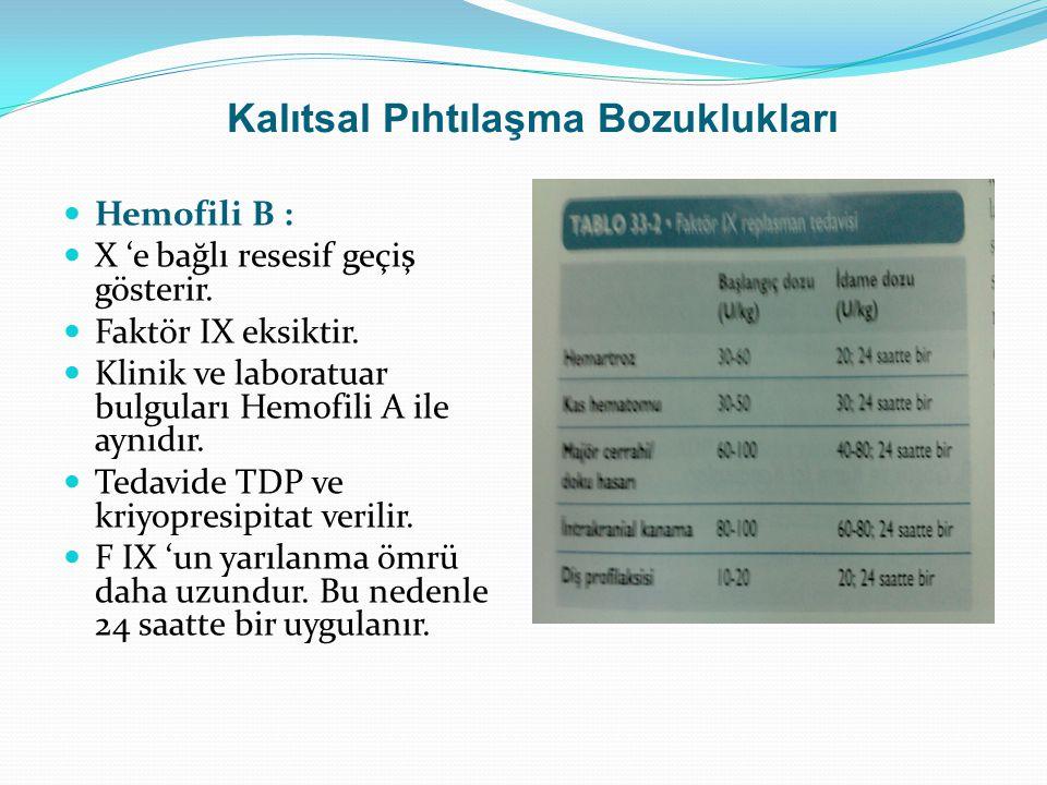 Kalıtsal Pıhtılaşma Bozuklukları Hemofili B : X 'e bağlı resesif geçiş gösterir. Faktör IX eksiktir. Klinik ve laboratuar bulguları Hemofili A ile ayn
