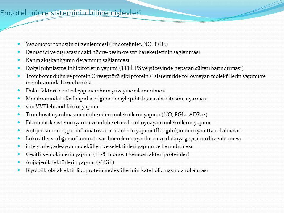 Endotel hücre sisteminin bilinen işlevleri Vazomotor tonusün düzenlenmesi (Endotelinler, NO, PGI2) Damar içi ve dışı arasındaki hücre-besin-ve sıvı ha