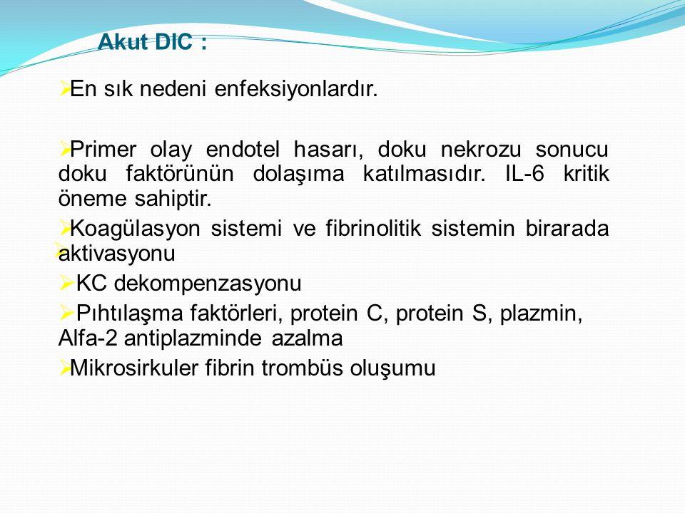  Akut DIC :  En sık nedeni enfeksiyonlardır.  Primer olay endotel hasarı, doku nekrozu sonucu doku faktörünün dolaşıma katılmasıdır. IL-6 kritik ön