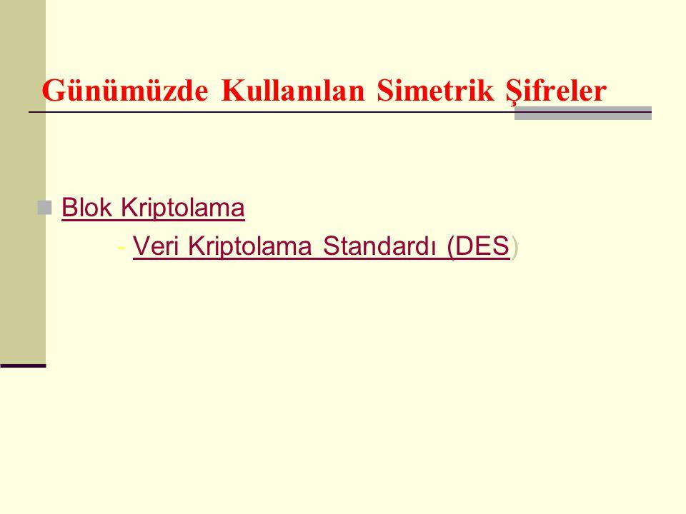 Günümüzde Kullanılan Simetrik Şifreler Blok Kriptolama - Veri Kriptolama Standardı (DES)Veri Kriptolama Standardı (DES