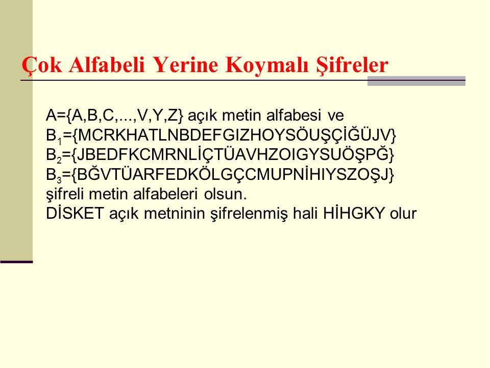 Çok Alfabeli Yerine Koymalı Şifreler A={A,B,C,...,V,Y,Z} açık metin alfabesi ve B 1 ={MCRKHATLNBDEFGIZHOYSÖUŞÇİĞÜJV} B 2 ={JBEDFKCMRNLİÇTÜAVHZOIGYSUÖŞ