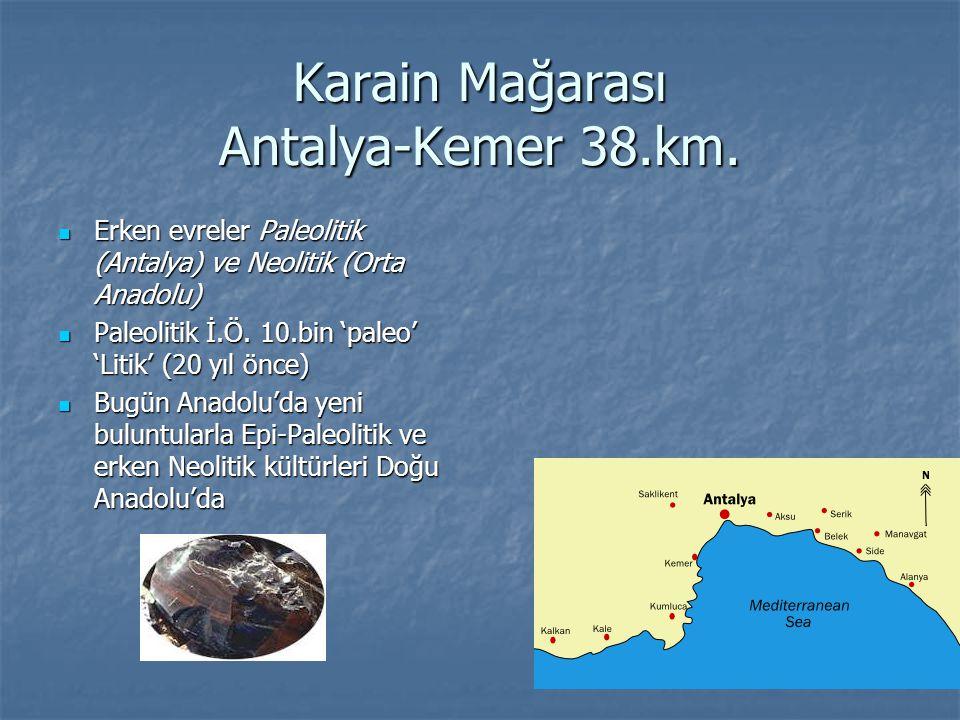 Karain Mağarası Antalya-Kemer 38.km. Erken evreler Paleolitik (Antalya) ve Neolitik (Orta Anadolu) Erken evreler Paleolitik (Antalya) ve Neolitik (Ort
