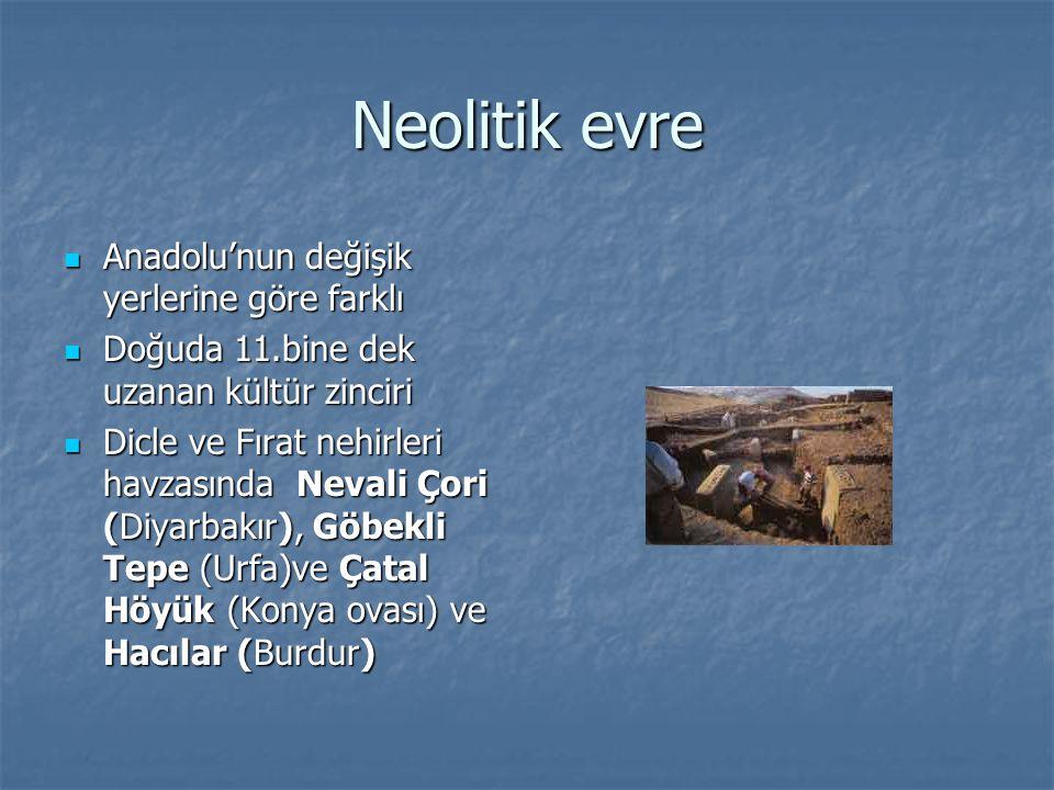 Neolitik evre Anadolu'nun değişik yerlerine göre farklı Anadolu'nun değişik yerlerine göre farklı Doğuda 11.bine dek uzanan kültür zinciri Doğuda 11.b