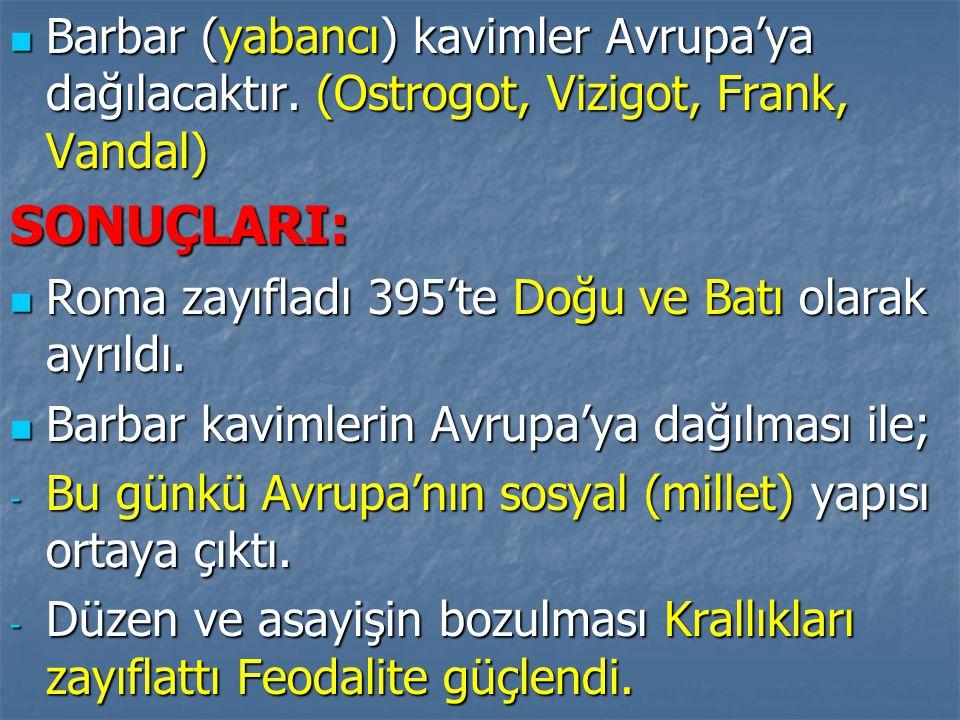 Barbar (yabancı) kavimler Avrupa'ya dağılacaktır. (Ostrogot, Vizigot, Frank, Vandal) Barbar (yabancı) kavimler Avrupa'ya dağılacaktır. (Ostrogot, Vizi