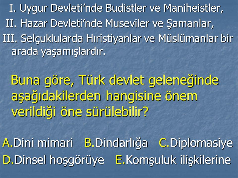 I. Uygur Devleti'nde Budistler ve Maniheistler, I. Uygur Devleti'nde Budistler ve Maniheistler, II. Hazar Devleti'nde Museviler ve Şamanlar, II. Hazar
