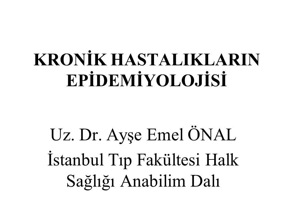 KRONİK HASTALIKLARIN EPİDEMİYOLOJİSİ Uz. Dr. Ayşe Emel ÖNAL İstanbul Tıp Fakültesi Halk Sağlığı Anabilim Dalı