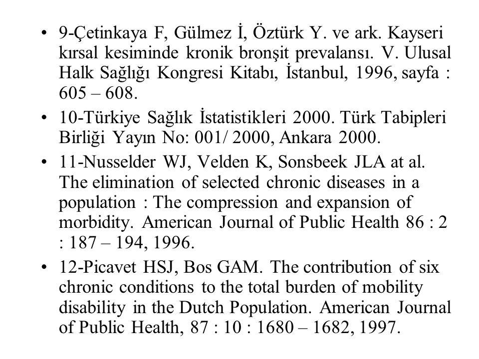 9-Çetinkaya F, Gülmez İ, Öztürk Y. ve ark. Kayseri kırsal kesiminde kronik bronşit prevalansı. V. Ulusal Halk Sağlığı Kongresi Kitabı, İstanbul, 1996,