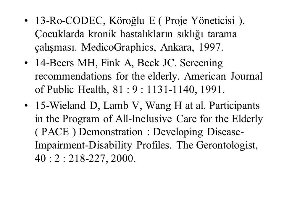13-Ro-CODEC, Köroğlu E ( Proje Yöneticisi ). Çocuklarda kronik hastalıkların sıklığı tarama çalışması. MedicoGraphics, Ankara, 1997. 14-Beers MH, Fink