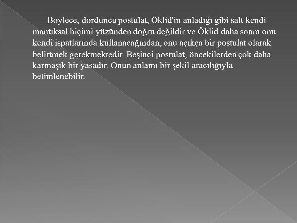 Böylece, dördüncü postulat, Öklid in anladığı gibi salt kendi mantıksal biçimi yüzünden doğru değildir ve Öklid daha sonra onu kendi ispatlarında kullanacağından, onu açıkça bir postulat olarak belirtmek gerekmektedir.