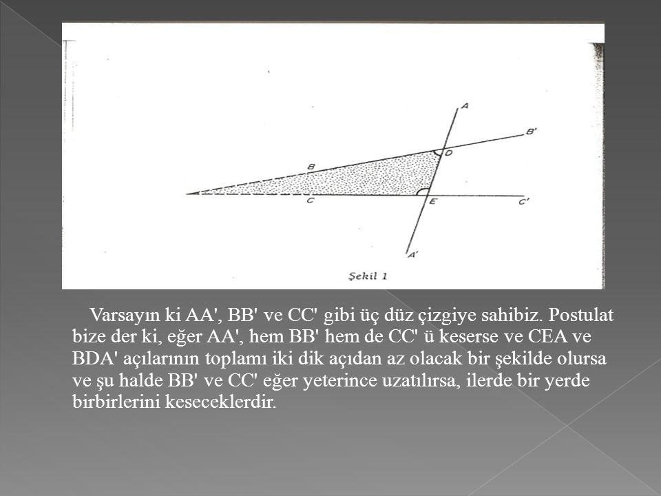 Varsayın ki AA', BB' ve CC' gibi üç düz çizgiye sahibiz. Postulat bize der ki, eğer AA', hem BB' hem de CC' ü keserse ve CEA ve BDA' açılarının toplam