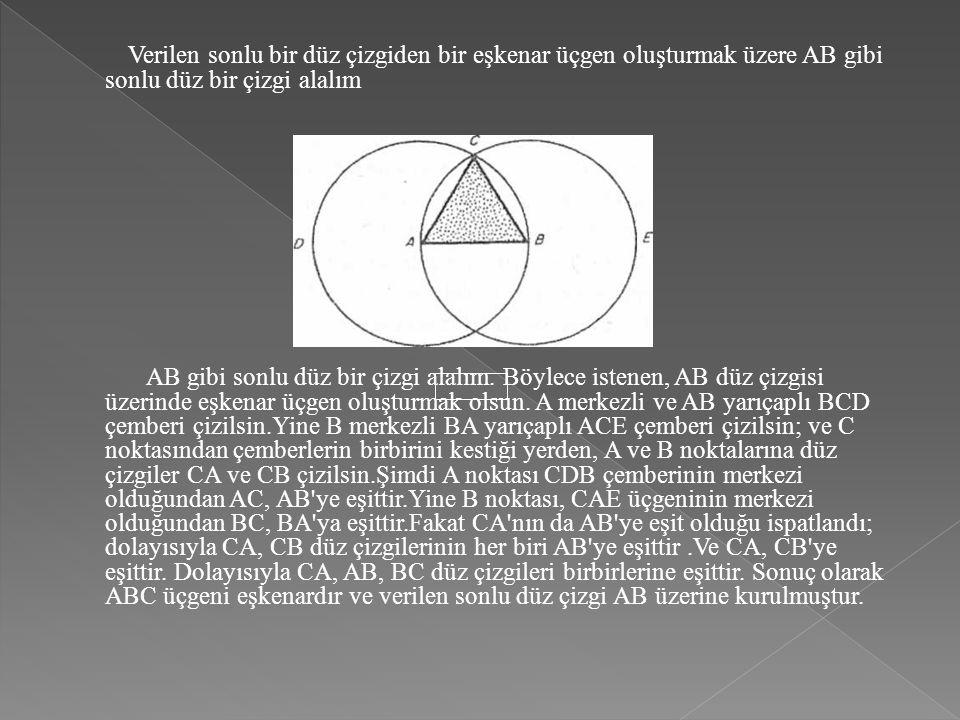 Verilen sonlu bir düz çizgiden bir eşkenar üçgen oluşturmak üzere AB gibi sonlu düz bir çizgi alalım AB gibi sonlu düz bir çizgi alalım. Böylece isten