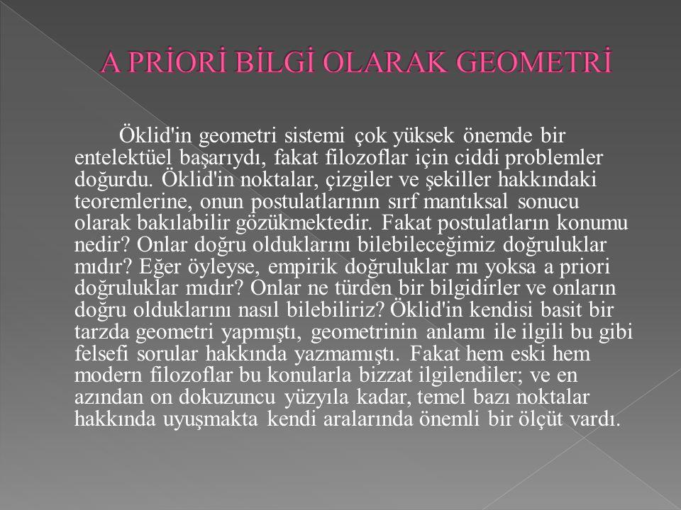 Öklid'in geometri sistemi çok yüksek önemde bir entelektüel başarıydı, fakat filozoflar için ciddi problemler doğurdu. Öklid'in noktalar, çizgiler ve