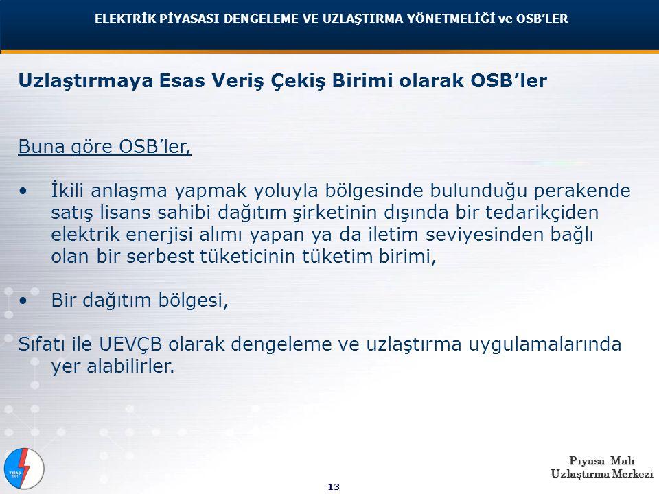 Piyasa Mali Uzlaştırma Merkezi 13 Uzlaştırmaya Esas Veriş Çekiş Birimi olarak OSB'ler Buna göre OSB'ler, İkili anlaşma yapmak yoluyla bölgesinde bulunduğu perakende satış lisans sahibi dağıtım şirketinin dışında bir tedarikçiden elektrik enerjisi alımı yapan ya da iletim seviyesinden bağlı olan bir serbest tüketicinin tüketim birimi, Bir dağıtım bölgesi, Sıfatı ile UEVÇB olarak dengeleme ve uzlaştırma uygulamalarında yer alabilirler.