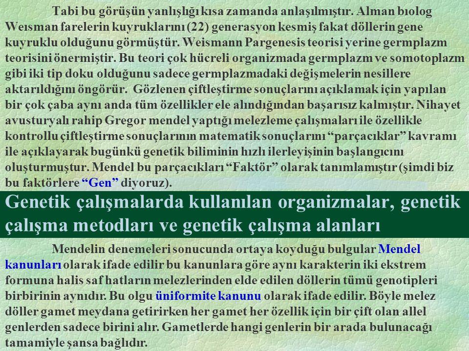 Genetik çalışmalarda kullanılan organizmalar, genetik çalışma metodları ve genetik çalışma alanları Tabi bu görüşün yanlışlığı kısa zamanda anlaşılmış
