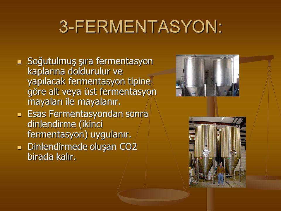 3-FERMENTASYON: Soğutulmuş şıra fermentasyon kaplarına doldurulur ve yapılacak fermentasyon tipine göre alt veya üst fermentasyon mayaları ile mayalanır.