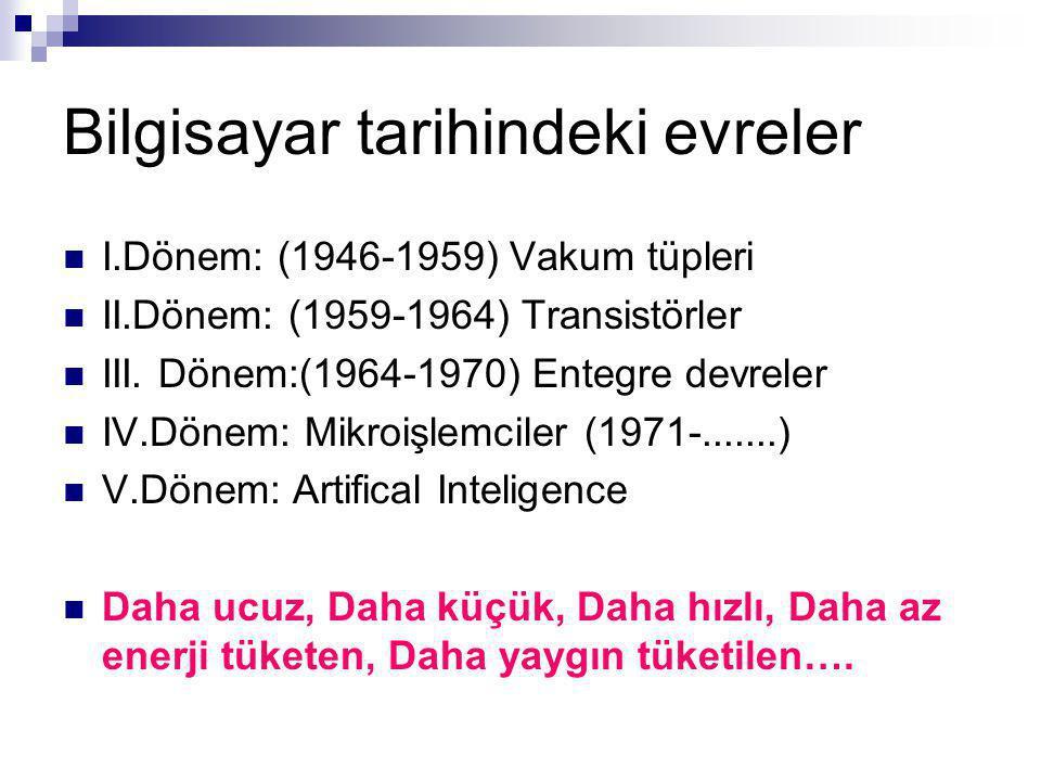 Bilgisayar tarihindeki evreler I.Dönem: (1946-1959) Vakum tüpleri II.Dönem: (1959-1964) Transistörler III.