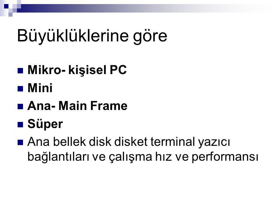 Büyüklüklerine göre Mikro- kişisel PC Mini Ana- Main Frame Süper Ana bellek disk disket terminal yazıcı bağlantıları ve çalışma hız ve performansı