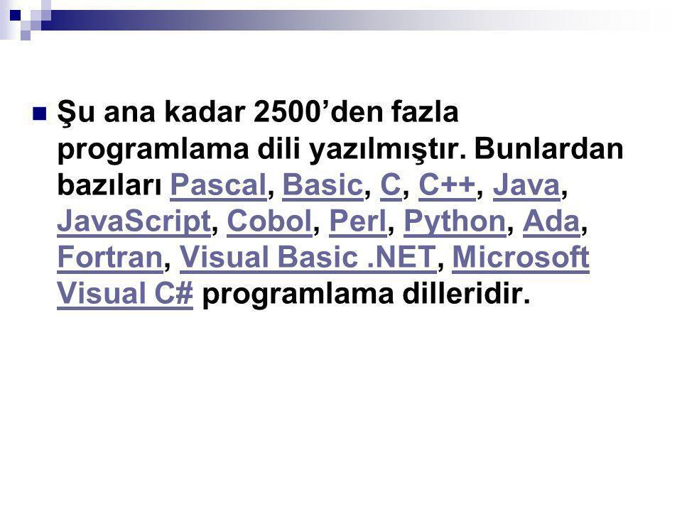 Şu ana kadar 2500'den fazla programlama dili yazılmıştır.