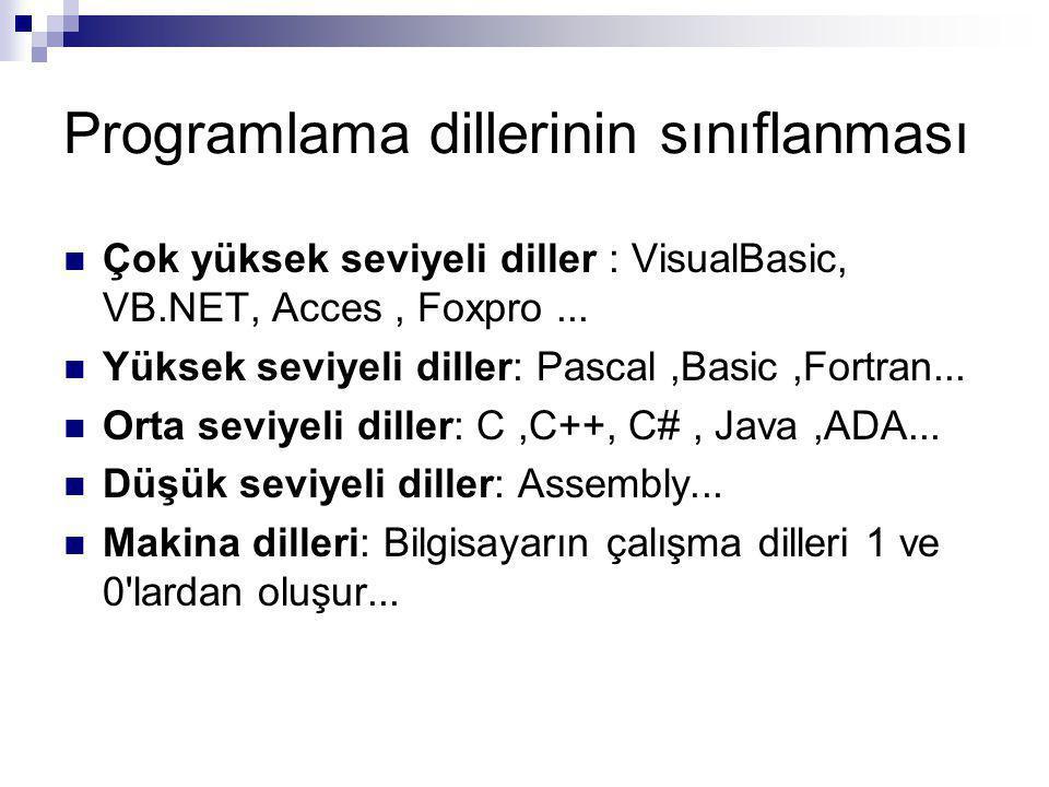 Programlama dillerinin sınıflanması Çok yüksek seviyeli diller : VisualBasic, VB.NET, Acces, Foxpro...