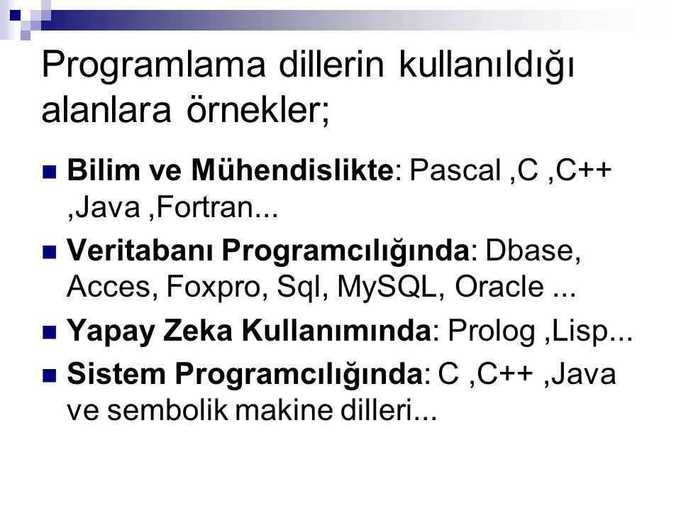 Programlama dillerin kullanıldığı alanlara örnekler; Bilim ve Mühendislikte: Pascal,C,C++,Java,Fortran...