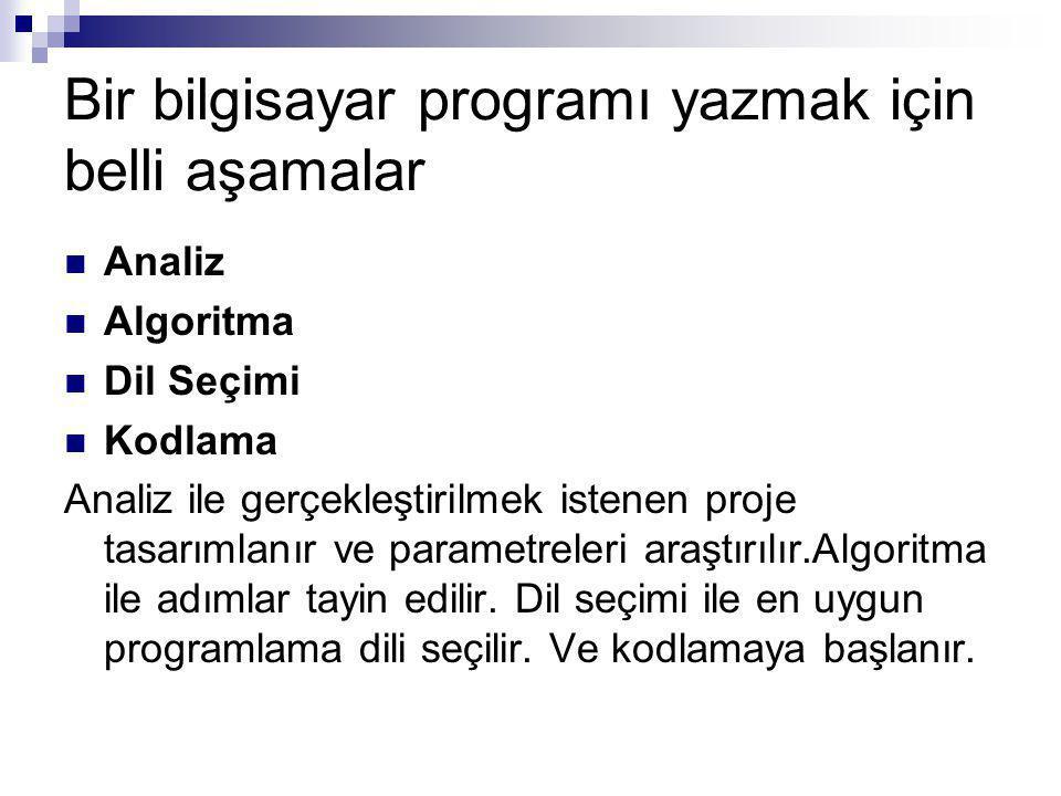 Bir bilgisayar programı yazmak için belli aşamalar Analiz Algoritma Dil Seçimi Kodlama Analiz ile gerçekleştirilmek istenen proje tasarımlanır ve parametreleri araştırılır.Algoritma ile adımlar tayin edilir.
