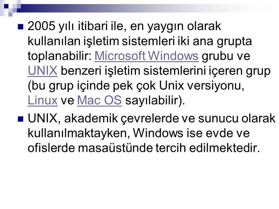 2005 yılı itibari ile, en yaygın olarak kullanılan işletim sistemleri iki ana grupta toplanabilir: Microsoft Windows grubu ve UNIX benzeri işletim sistemlerini içeren grup (bu grup içinde pek çok Unix versiyonu, Linux ve Mac OS sayılabilir).Microsoft Windows UNIX LinuxMac OS UNIX, akademik çevrelerde ve sunucu olarak kullanılmaktayken, Windows ise evde ve ofislerde masaüstünde tercih edilmektedir.