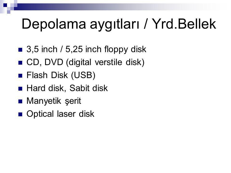 Depolama aygıtları / Yrd.Bellek 3,5 inch / 5,25 inch floppy disk CD, DVD (digital verstile disk) Flash Disk (USB) Hard disk, Sabit disk Manyetik şerit Optical laser disk
