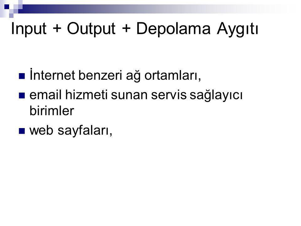 Input + Output + Depolama Aygıtı İnternet benzeri ağ ortamları, email hizmeti sunan servis sağlayıcı birimler web sayfaları,