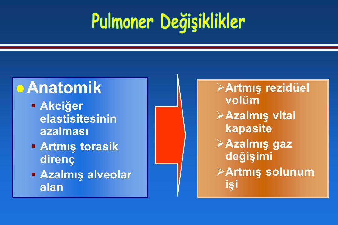  Artmış rezidüel volüm  Azalmış vital kapasite  Azalmış gaz değişimi  Artmış solunum işi l Anatomik  Akciğer elastisitesinin azalması  Artmış torasik direnç  Azalmış alveolar alan