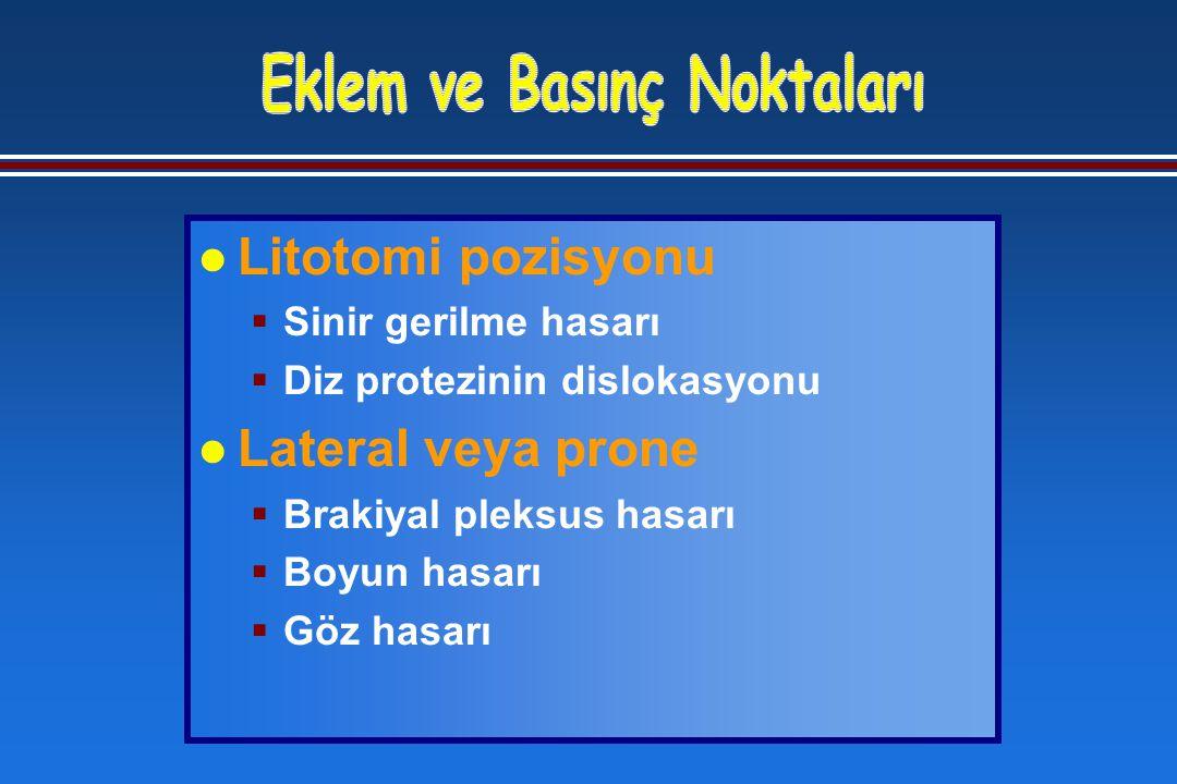 l Litotomi pozisyonu  Sinir gerilme hasarı  Diz protezinin dislokasyonu l Lateral veya prone  Brakiyal pleksus hasarı  Boyun hasarı  Göz hasarı