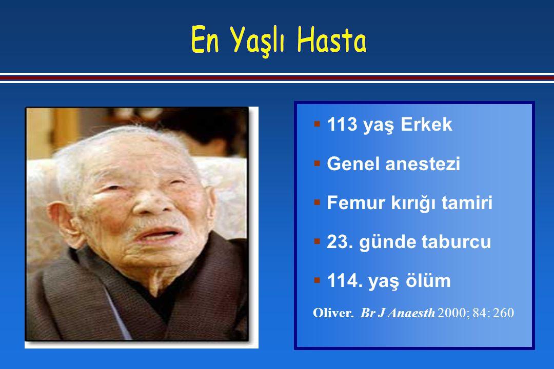  113 yaş Erkek  Genel anestezi  Femur kırığı tamiri  23.