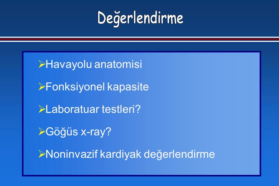  Havayolu anatomisi  Fonksiyonel kapasite  Laboratuar testleri.