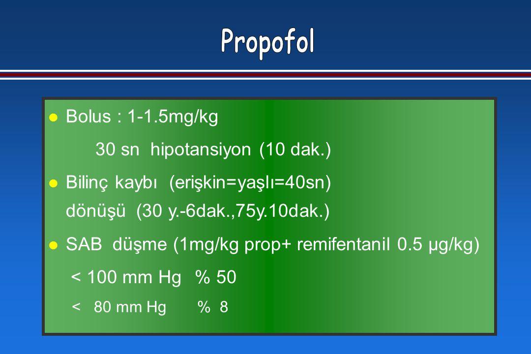 l Bolus : 1-1.5mg/kg 30 sn hipotansiyon (10 dak.) l Bilinç kaybı (erişkin=yaşlı=40sn) dönüşü (30 y.-6dak.,75y.10dak.) l SAB düşme (1mg/kg prop+ remifentanil 0.5 μg/kg) < 100 mm Hg % 50 < 80 mm Hg % 8