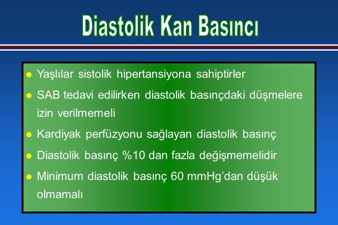 l Yaşlılar sistolik hipertansiyona sahiptirler l SAB tedavi edilirken diastolik basınçdaki düşmelere izin verilmemeli l Kardiyak perfüzyonu sağlayan diastolik basınç l Diastolik basınç %10 dan fazla değişmemelidir l Minimum diastolik basınç 60 mmHg'dan düşük olmamalı