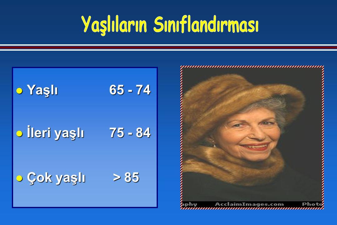 l Yaşlı 65 - 74 l İleri yaşlı 75 - 84 l Çok yaşlı > 85