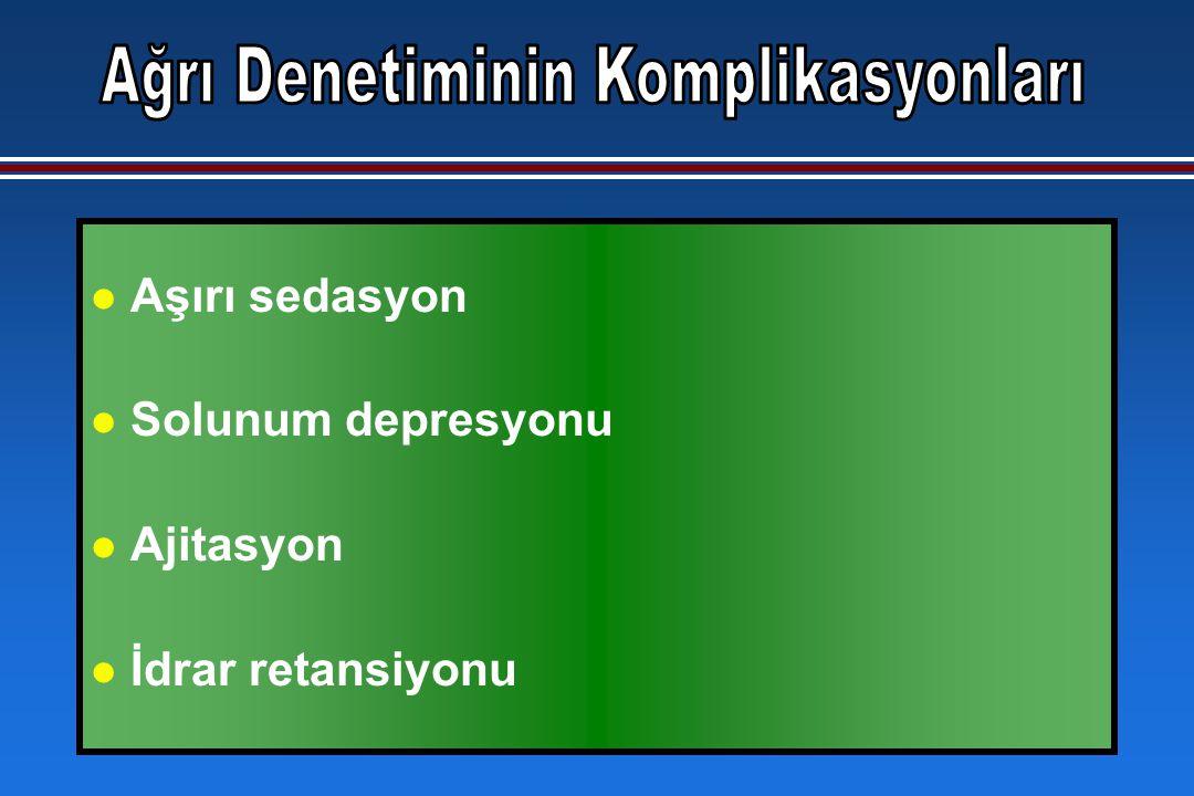 l Aşırı sedasyon l Solunum depresyonu l Ajitasyon l İdrar retansiyonu